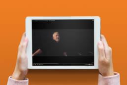 Mock-up af videoproduktion for Marc Bernstein på iPad