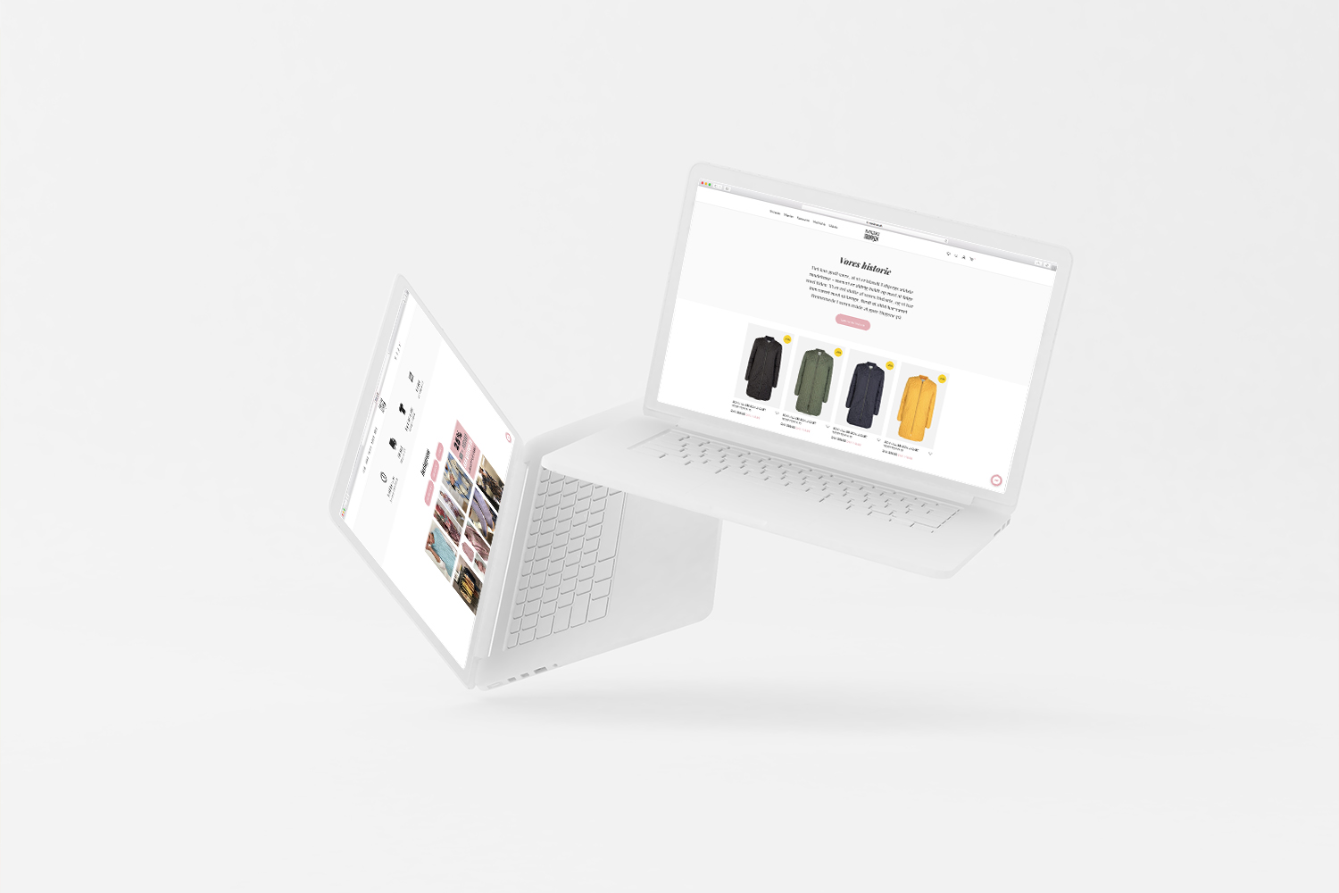 Mock-up af webshop for Moxi & Frandsen