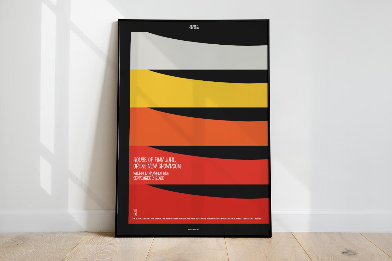 Mock-up af plakat for House of Finn Juhl